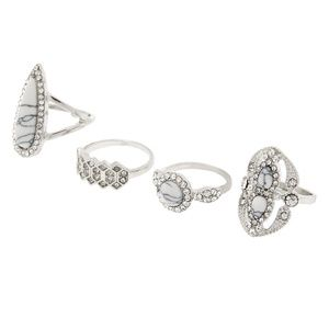 NEW Silver Marble Rings Set - White, 4 Pack NWT